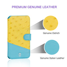 Load image into Gallery viewer, Ostrich Leather Flip Wallet Phone Case iPhone XS