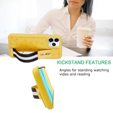 Load image into Gallery viewer, Ostrich Kickstand Leather Case iPhone 11 Pro with stand function - Yellow