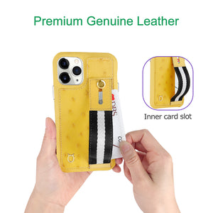 Ostrich Kickstand Leather Case iPhone 11 Pro with stand function - Yellow