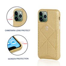 Load image into Gallery viewer, iPhone 11 Pro Italian Lizard Leather Case with Multiple standing function - Light Yellow