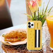 Load image into Gallery viewer, Ostrich Kickstand Leather Case iPhone 11 Pro Max with stand function - Yellow