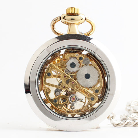Golden mechanical pocket watch
