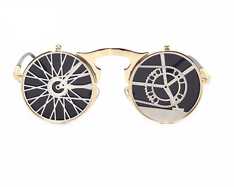 Retro Steampunk Flippable Design Sunglasses