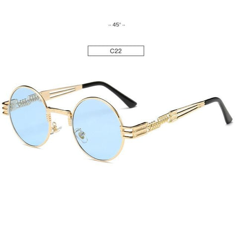 Image of Gold Metal Fashion John Lennon Round Sunglasses Steampunk Sunglasses Mens Womens Retro Vintage Coating Mirrored Eyewear Shades