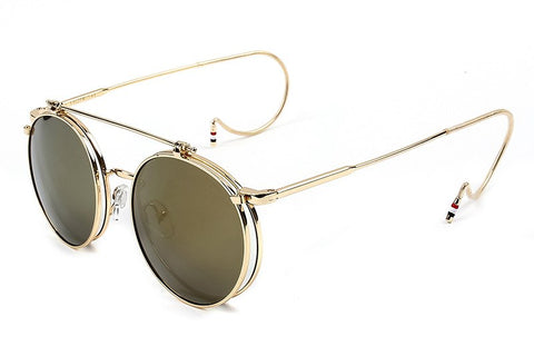 Image of Steampunk flip vintage glasses hook sunglasses literary round frame glasses sunglasses
