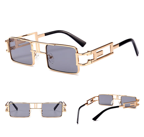 mens rectangular sunglasses steampunk men metal frame gold black red flat top square sun glasses for women 2018