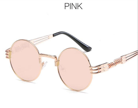 Gold Metal Fashion John Lennon Round Sunglasses Steampunk Sunglasses Mens Womens Retro Vintage Coating Mirrored Eyewear Shades