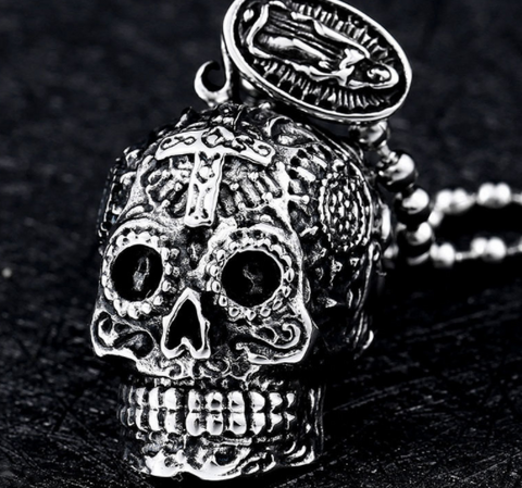 Image of Skull Carving Pendant Necklace