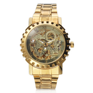 Golden automatic mechanical watch
