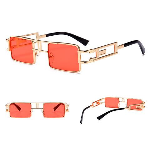Image of mens rectangular sunglasses steampunk men metal frame gold black red flat top square sun glasses for women 2018