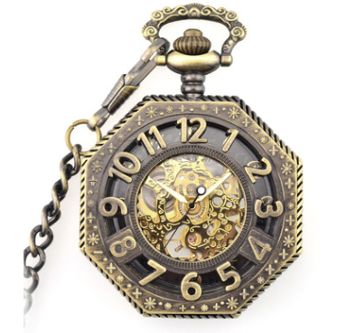 Bronze Skeleton Steampunk Pocket Watch