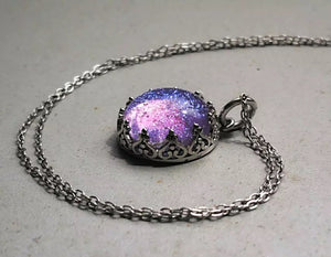Microcosmos glass 925 silver necklace