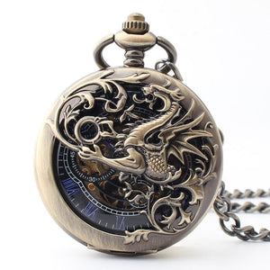 Dragon scale winding mechanical pocket watch
