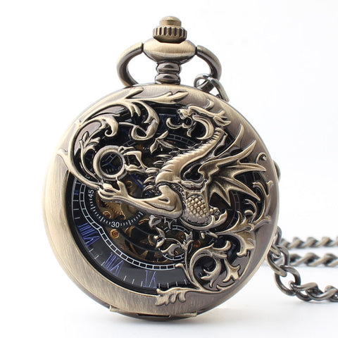 Image of Dragon scale winding mechanical pocket watch