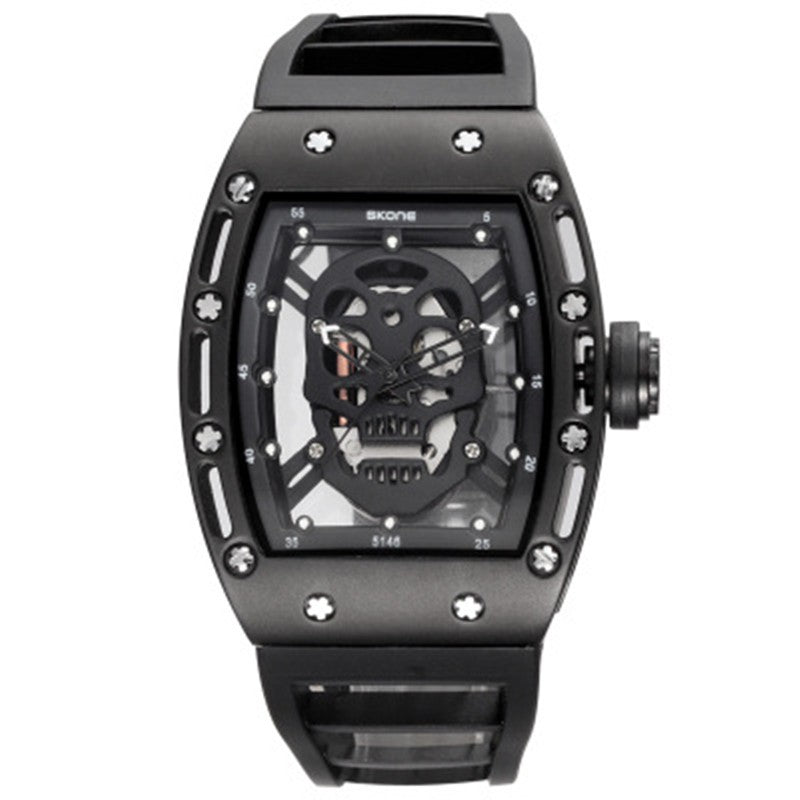 Male Waterproof Quartz Skull Watch