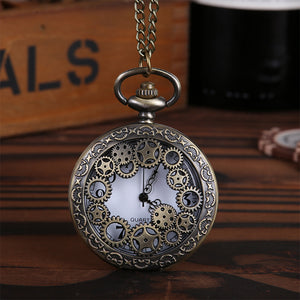 Mechanical gear parts embossed pocket watch