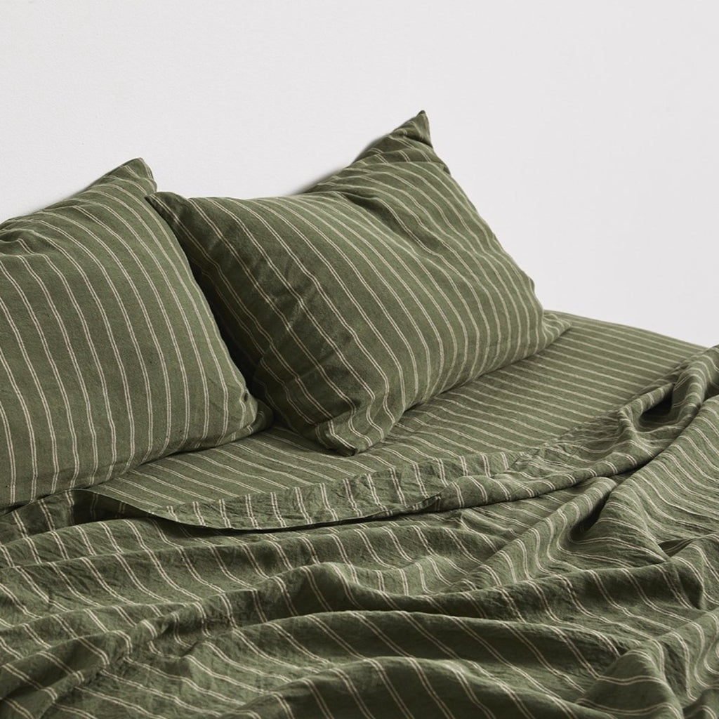 Linen Flat Sheet - Olive + Peach Stripe