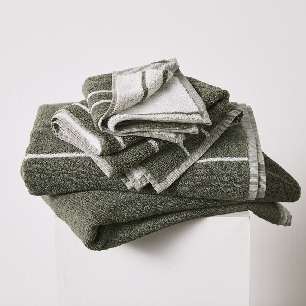 Khaki Stripe Bath Towel