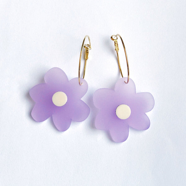 Flower Power Earrings: Gloss Lavender