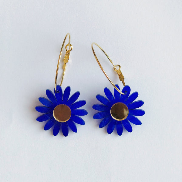 Daisy Earrings: Blue