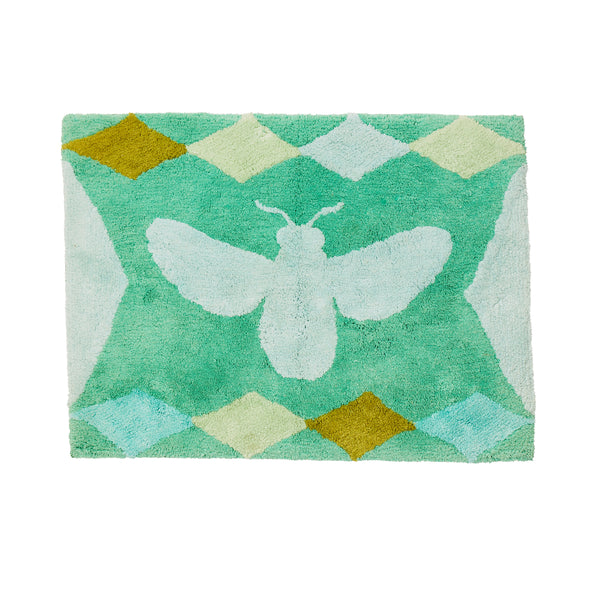 Bees Green Bath Mat
