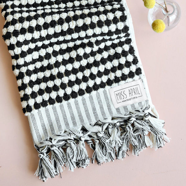 Pompom Bath Towel: Black