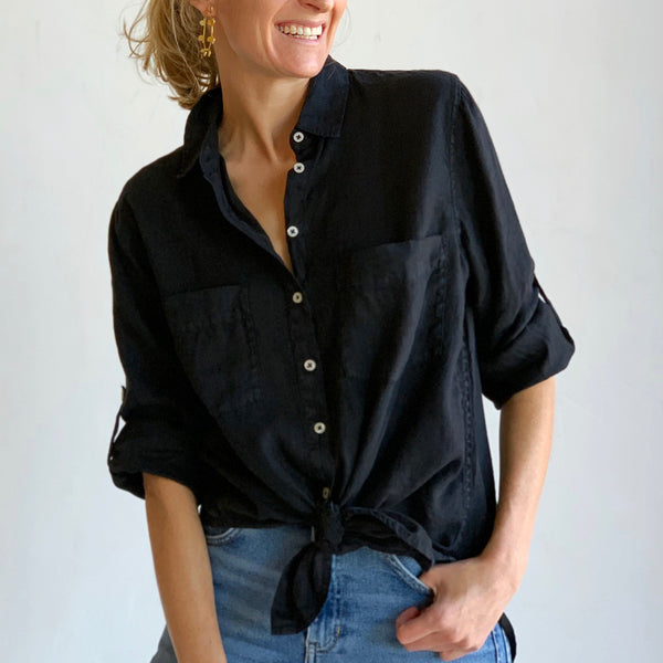The Best Ever Linen Shirt: Black