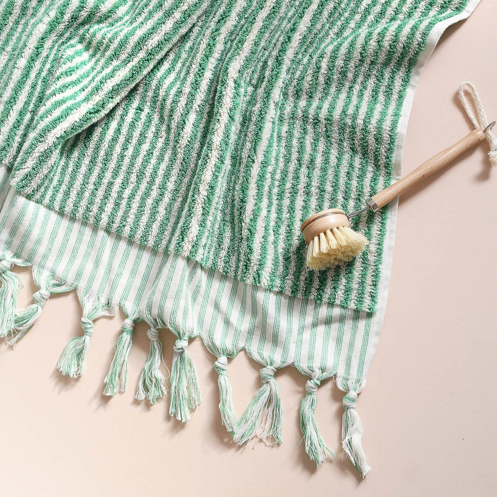 Lines Bath Towel - Green Stripe