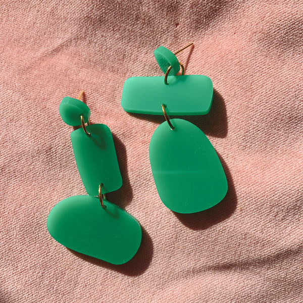 Polly's Mis-matched Earrings: Green