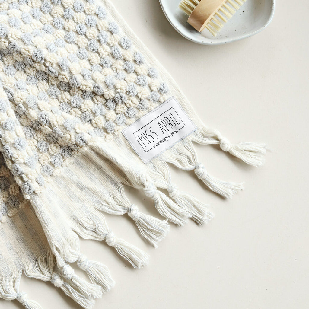 Pompom Bath Towel: Pale Grey