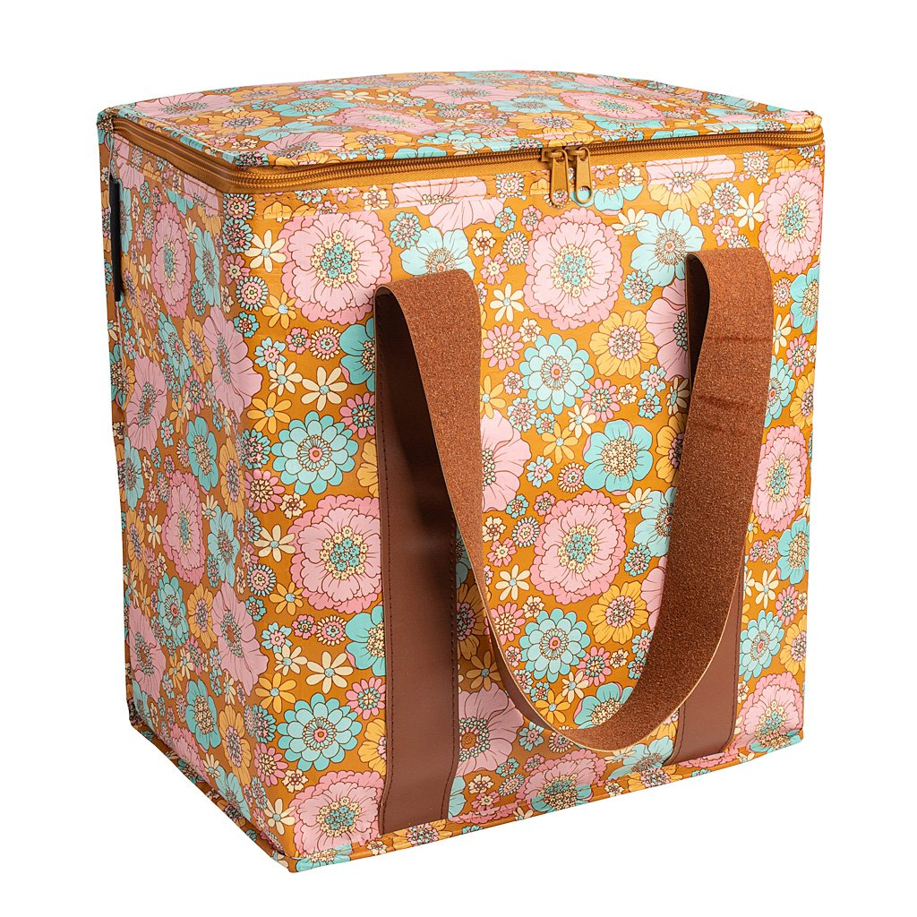 Cooler Bag - Aqua Retro Mustard Floral