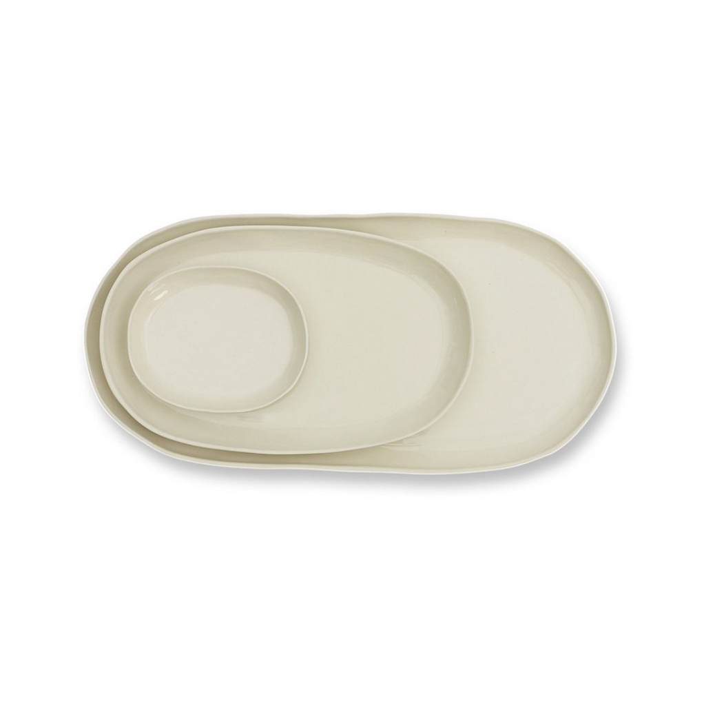Cloud Oval Plate - Chalk M