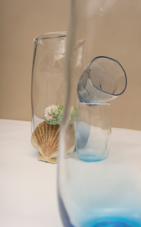 Pale Blue Glass Pitcher