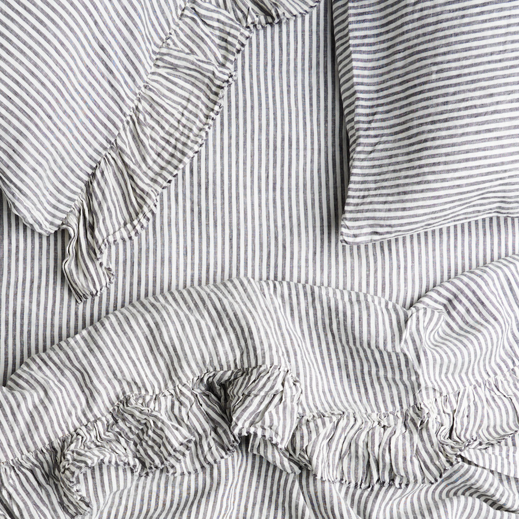 Linen Pillowcase Set: Charcoal Stripe