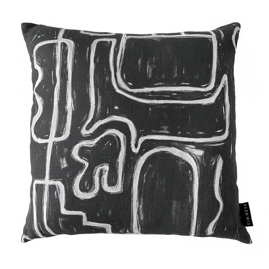 Abstract Square Cushion - Black