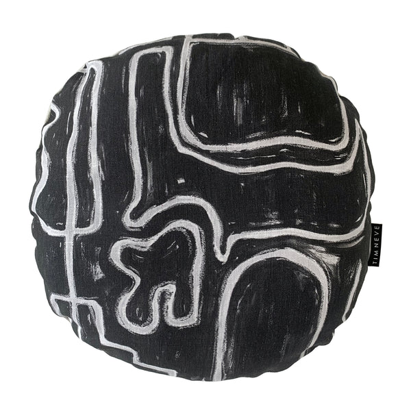 Abstract Round Cushion - Black