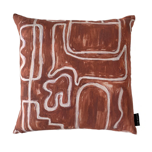 Abstract Square Cushion - Rust