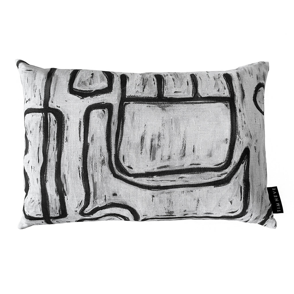 Abstract Rectangle Cushion - White