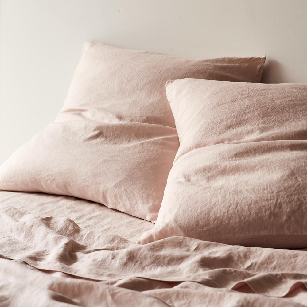European Linen Pillowcase Set: Blush
