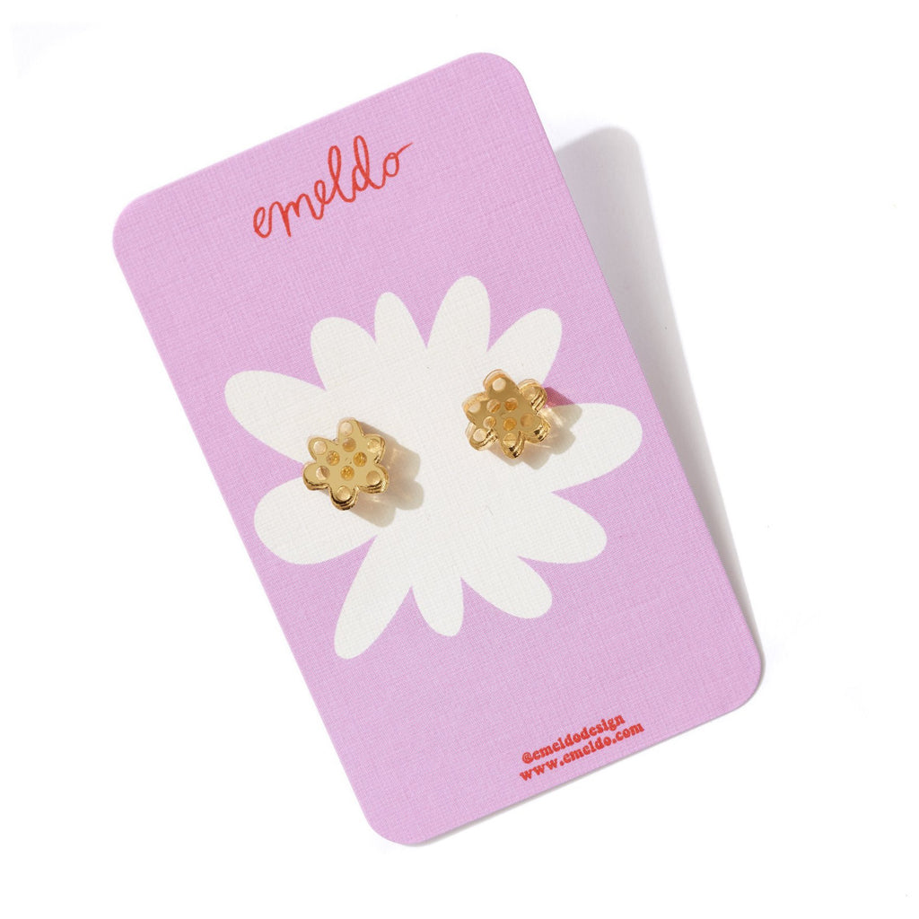 Flower Stud Earrings - Gold Mirror