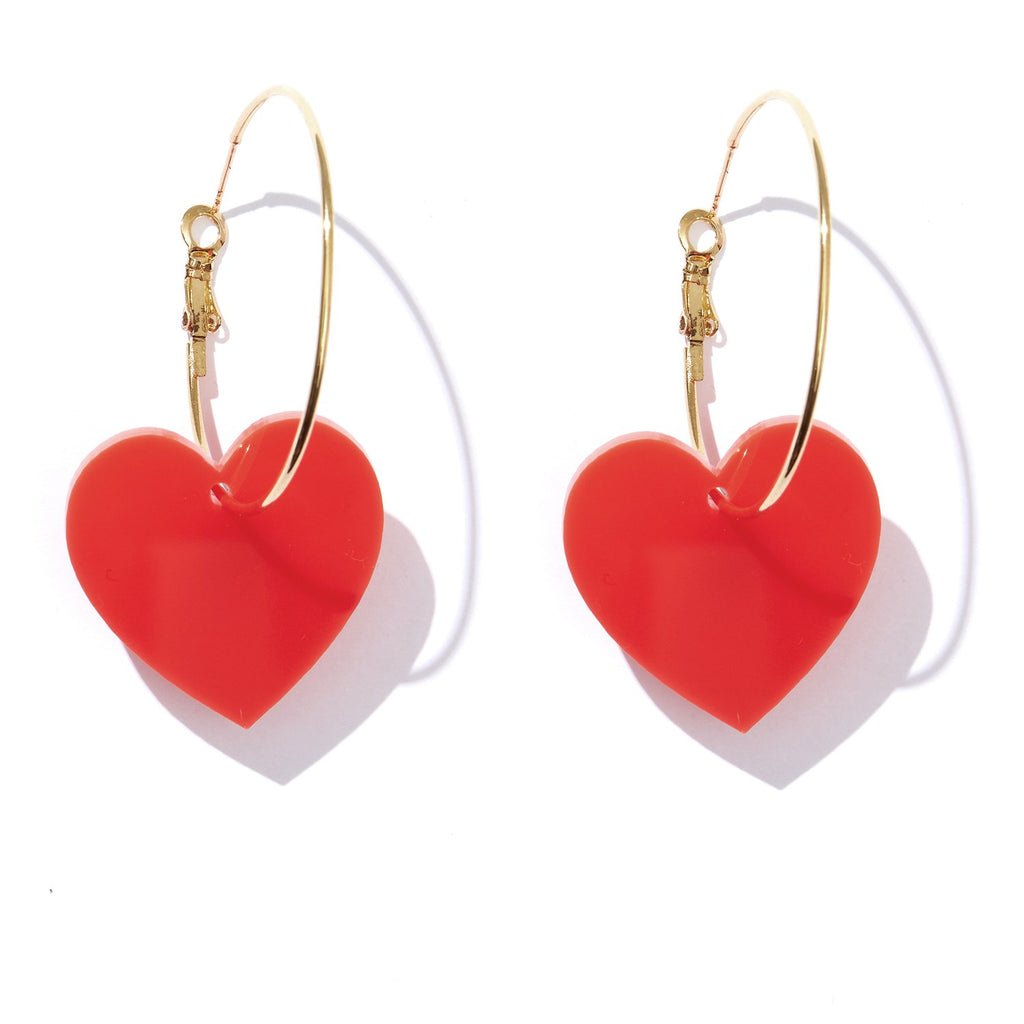 Valentine Hoops - Neon Red