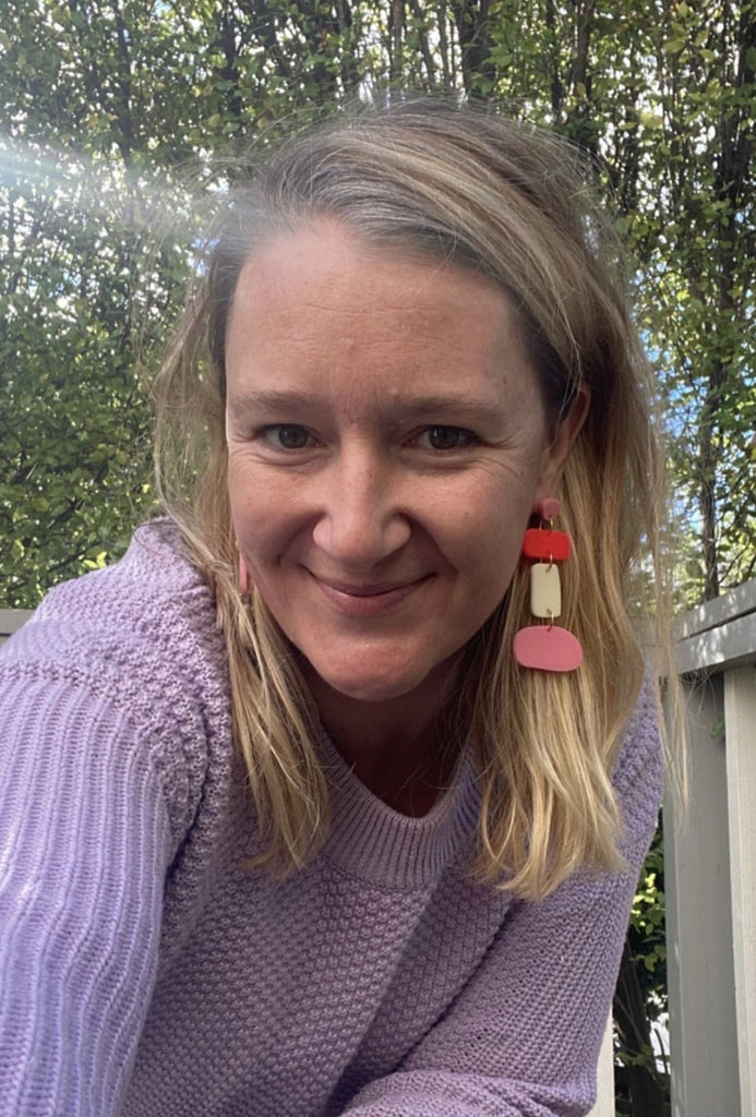 Polly's Mis-matched Sister Earrings: Pink + Red