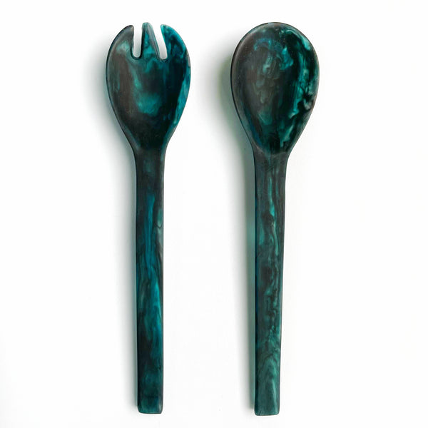 Long Salad Servers - Navy Swirl