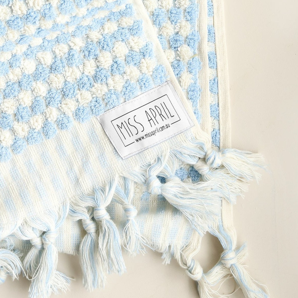 Pompom Bath Towel: Pale Blue