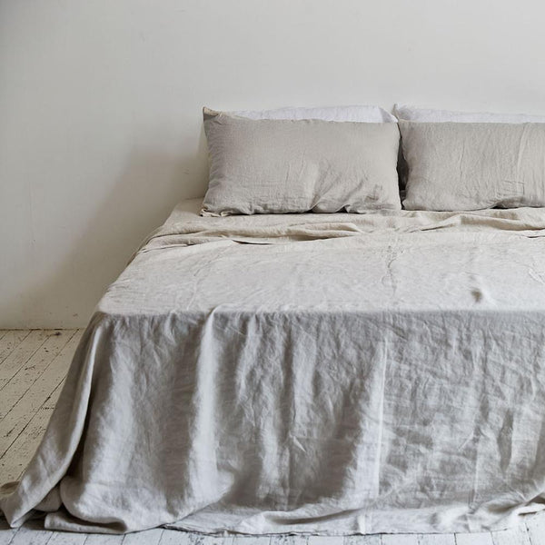 Linen Flat Sheet: Dove Grey
