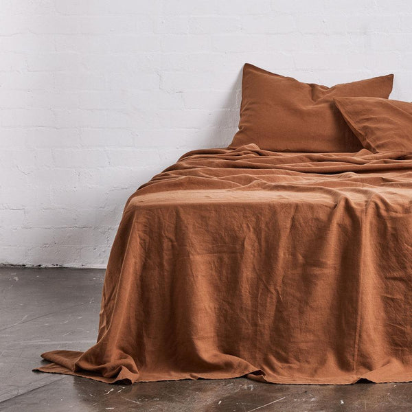 Linen Flat Sheet: Tobacco