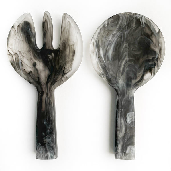 Short Handle Salad Servers - Black Swirl