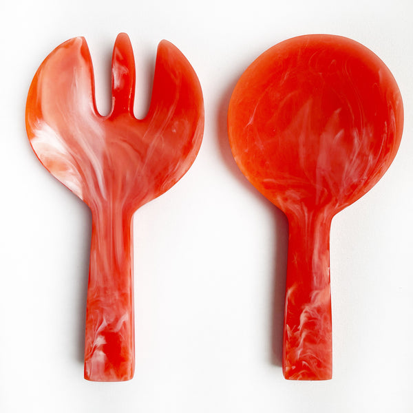 Short Handle Salad Servers - Coral Swirl