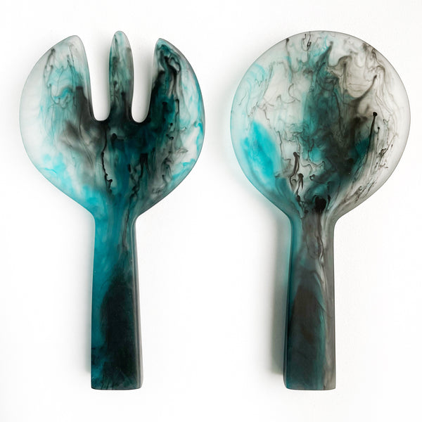 Short Handle Salad Servers - Navy Swirl