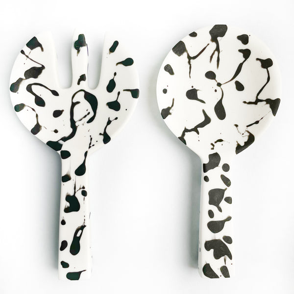 Short Handle Salad Servers - Zebra
